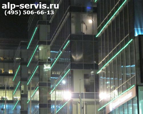 монтаж подсветки фасадов