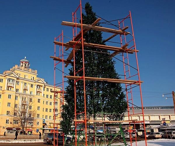 монтаж уличной елки